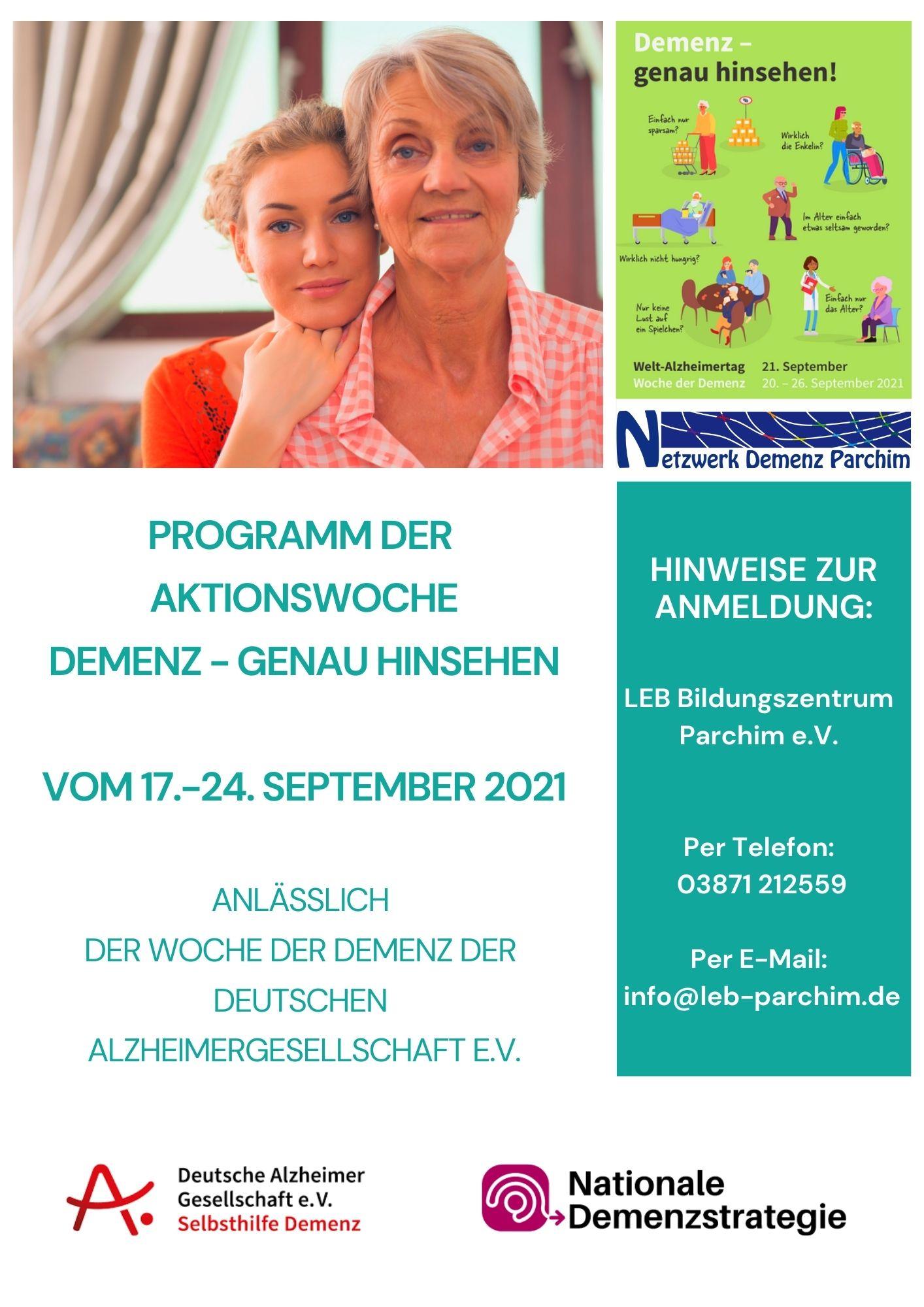 Woche der Demenz Parchim Netzwerk Demenz 2021